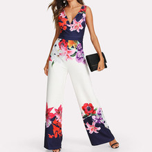 2019 Summer Female Puls Size Elegant Loose Women Sexy Print Off Shoulder Self Tie New Ruffle Half Sleeve Jumpsuit  7.15