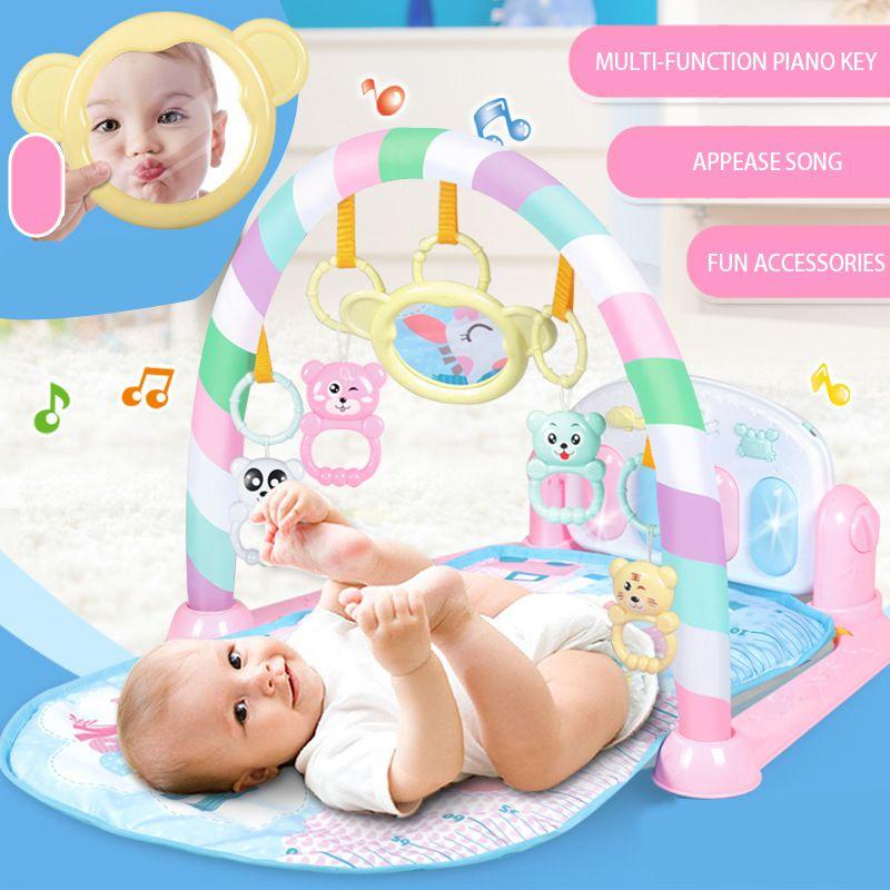 Enfants bébé coup de pied jouer nouveau-né jouet avec Piano pour nouveau-né bébé début activité d'éducation bande dessinée jouer tapis Gym musique tapis couvertures
