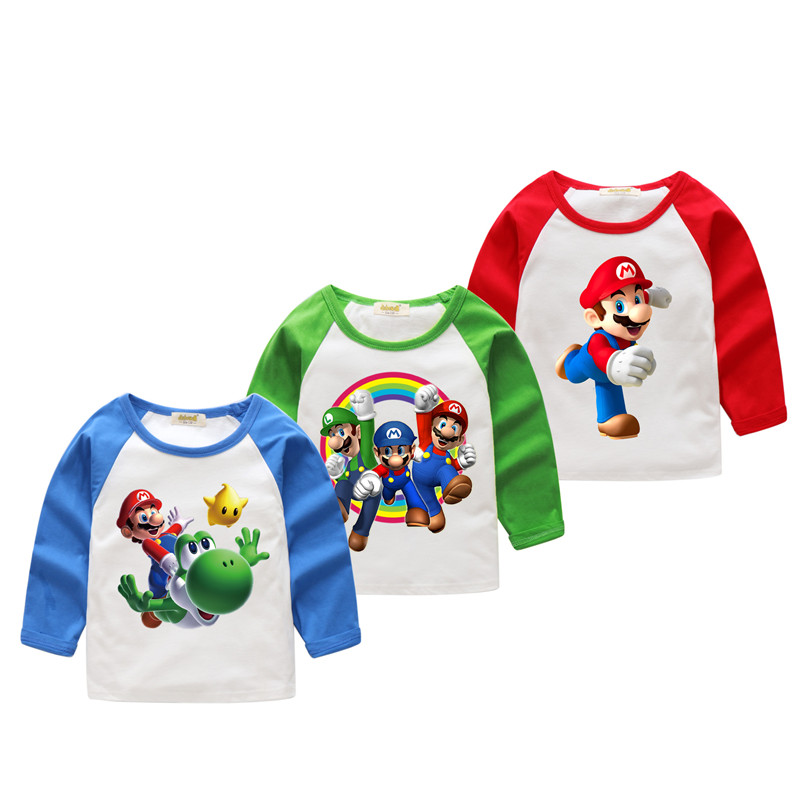 2018 Children New Cartoon Mario Printing Long Sleeve Tee Tops Clothes Boy Girls 3D Pattern Design T-shirts Kids T Shirts CX011 pink lace up design cold shoulder long sleeves t shirts