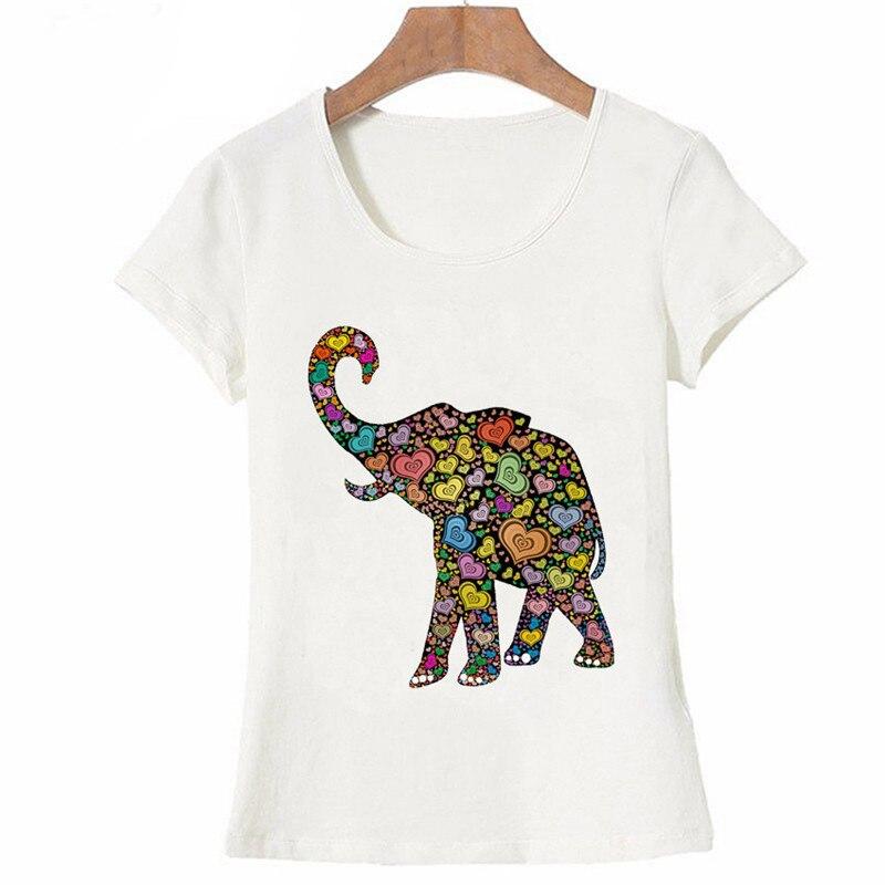 Harajuku Beautiful Hippie Heart Pattern Elephant Colorful T Shirt Fashion Cute Women Casual Summer Short Sleeve tee for girls