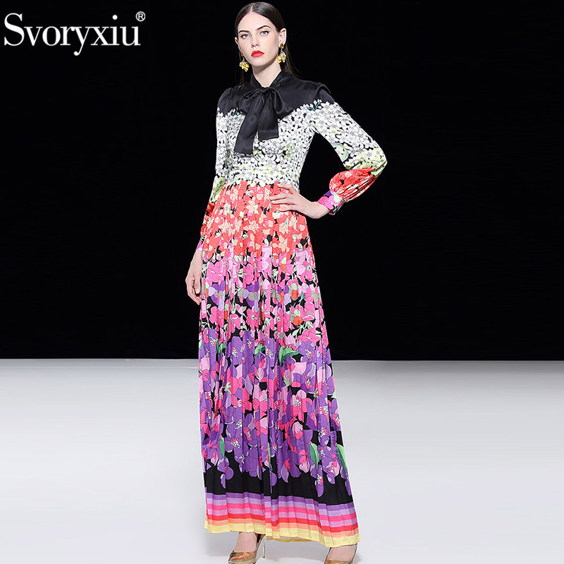 Svoryxiu Elegant Runway Custom Big Size Maxi Dress Women s Bow Collar Color Matching Floral Print