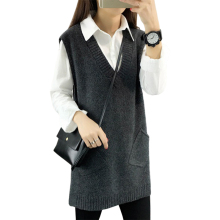 Женский шерстяной жилет, свитер, длинный пуловер, новинка весны, женский корейский джемпер без рукавов, длинные свитера, пальто, одежда, vestidos MMY068