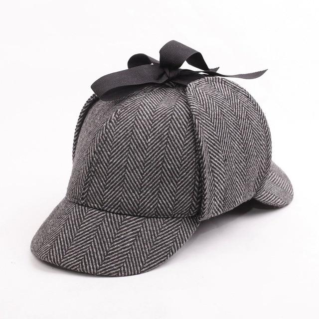 BIg Head L Size Vintage Sherlock Holmes Detective Baseball Hat Deerstalker  Unisex Cotton Cap Two Brims Strip Earflap Hat Cap-in Baseball Caps from  Apparel ... e2aa4aae10c