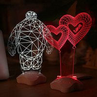 3D LED Night Lights Micro Usb LED Table Lamp Touch Romantic Night Light Baymax Rose Heart