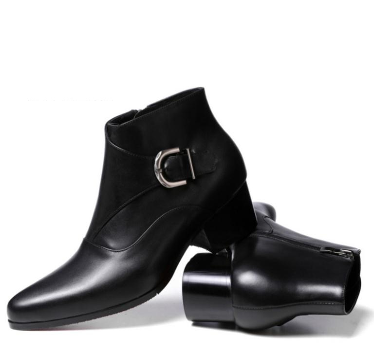 7aea1a554e5a New autumn winter mens pointed toe high heels genuine leather boots shoes  men fashion buckle red soles design plush ankle boots-in Work   Safety Boots  from ...