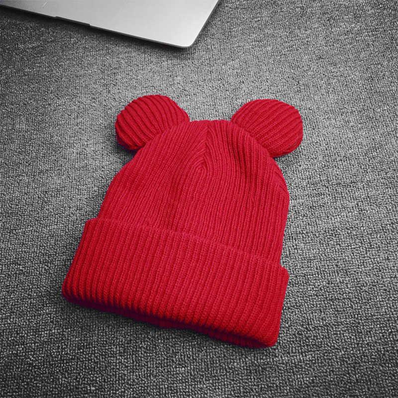 Chapéu de lã de malha grossa de inverno com duas orelhas de gato gorro feminino quente boné macio novo-y107