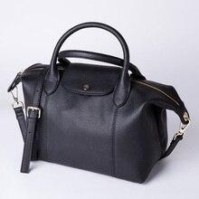 Women Casual Genuine Leather Hobos Tote Bag Top Handle Large Handbag Shoulder Messenger Bag Solid Female Purse