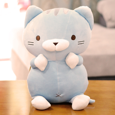 cute plush cartoon cat toy soft blue cat doll pillow gift about 50cm cute cartoon ladybird plush toy doll soft throw pillow toy birthday gift h2813