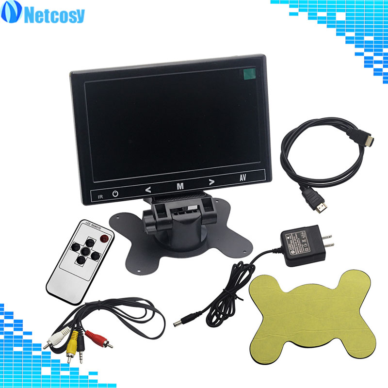 Netcosy 1024*600 7 HD Display 17.8cmx11.8cm LCD Screen Display AV/VGA/HDMI Monitor for Raspberry Pi 3 For TV Computer PC DVR