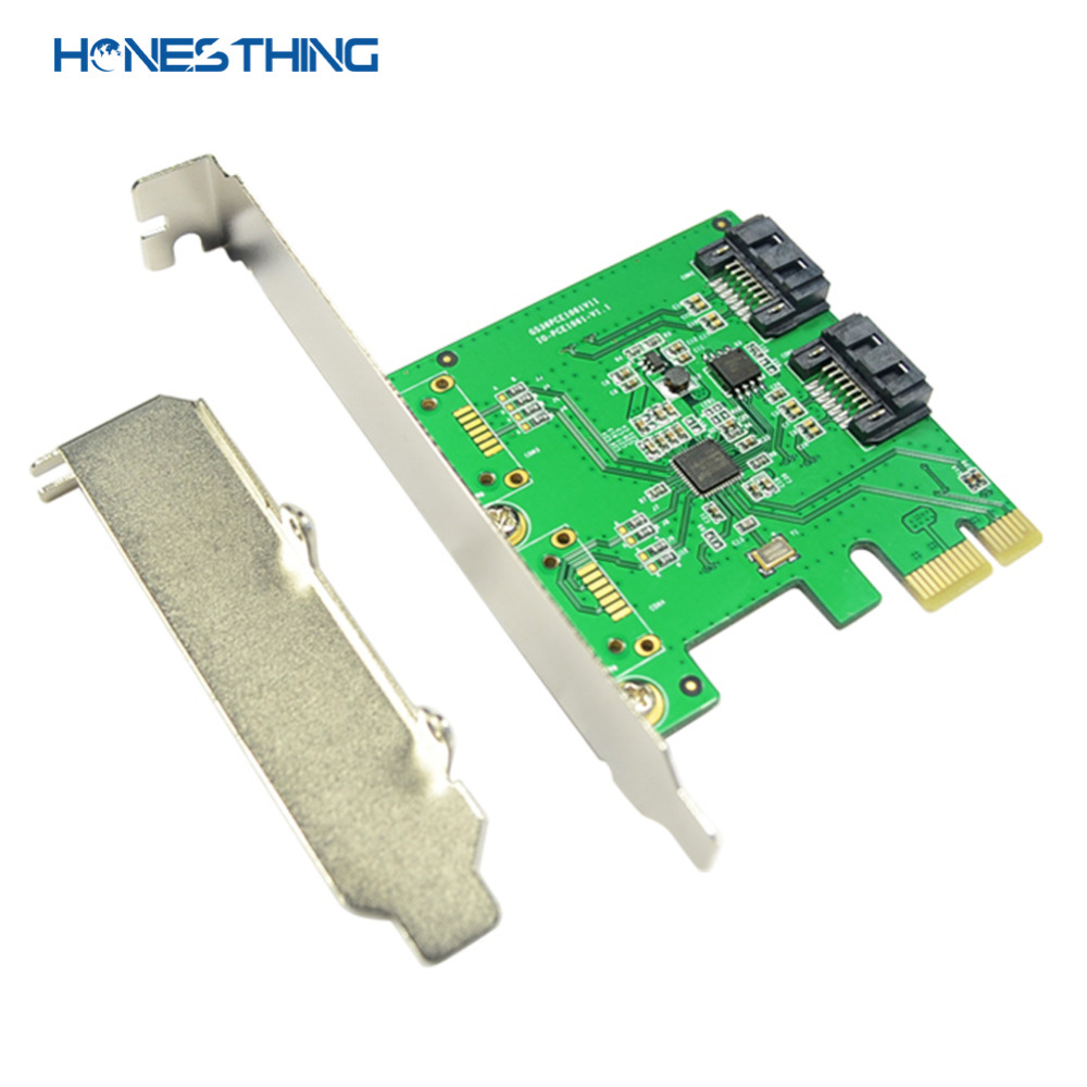 HonesThing SATA III 2 Ports Controller Card PCI-Express 2.0 x1 RAID Card for ASMedia ASM1061 with Low Profile Bracket 2