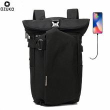 OZUKO Fashion Backpack Men for Teenager 15.6 inch Laptop Backpack Oxford Travel Rucksack Casual School Bags USB Charging Mochila