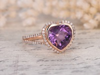 MYRAY 14k Rose Gold Heart Shaped Natural Genuine Purple Amethyst Crystal Engagement Vintage Ring Diamond Halo Rings Women Men
