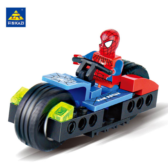 Legoing Super Heroes Motorcycle Bricks Mini Spiderman Storm Building Blocks  Sets Figures Creator Educational Toys for Children
