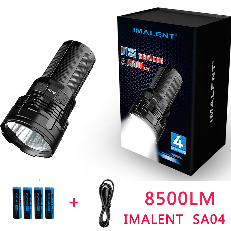 IMALENT DT35 USB Rechargeable CREE XHP35 8500 Lumens 1000Meters Away LED Tactical Flashlight by 18650 Li-ion Rechargeable Batte