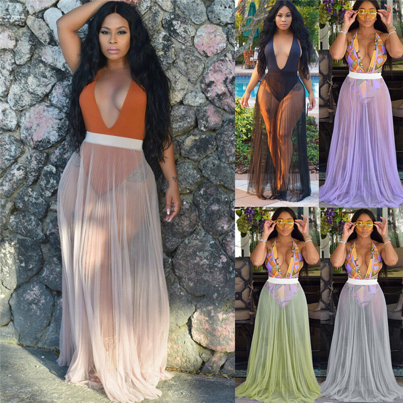 Womens Swimwear Bikini Cover Up Sheer Beach Wrap Long Skirt Sarong Pareo Dress Bathing Swim Suit