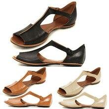 Женские босоножки из искусственной кожи; летняя модная обувь на плоской подошве; пляжная обувь с открытым носком; женские сандалии в римском стиле ретро с открытым носком на щиколотке