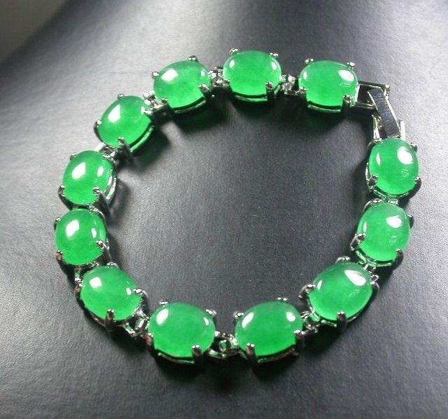 Placa de ouro CHINÊS Verde JADE Cabochão Bead Contas Bangle Bracelet 246982