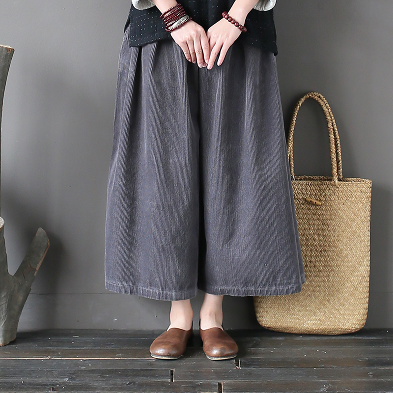 Johnature Women Corduroy   Wide     Leg     Pants   2018 Autumn New Elastic Waist Loose Vintage Trouser Warm Brief Women   Pants