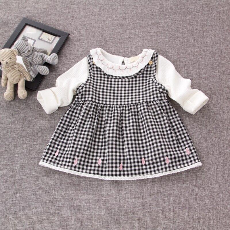 Autumn Kids Clothes Cotton Infant Baby Cotton Long Sleeve Blouse Plaid Princess Sundress Girls 2Pcs Dress