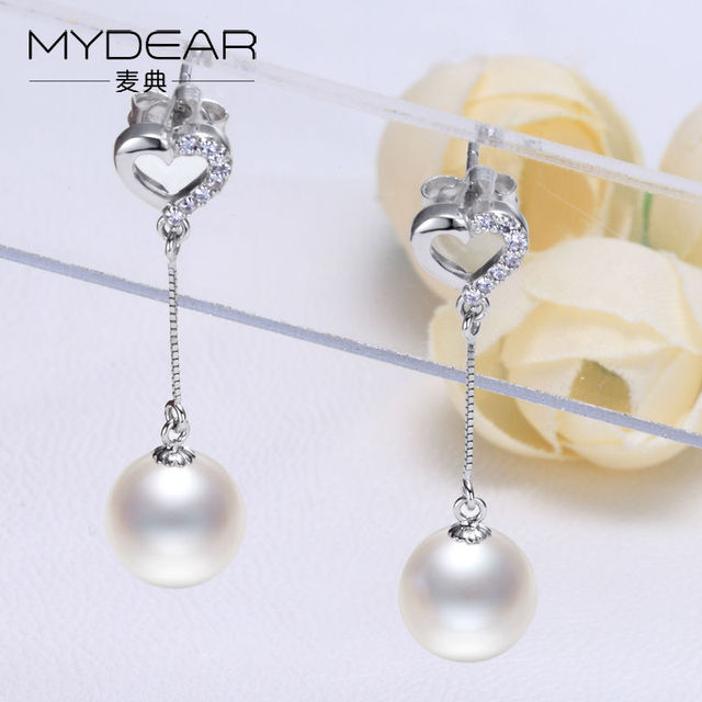 MYDEAR 2016 New Arrival Long Earrings Top Sell G18K Gold Drop Natural Glossy Pearl Earrings Jewelry,Italina Fashion Bijouterie
