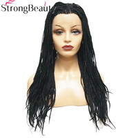 StrongBeauty Lace Front Twist Braid Wigs Long Black Wig Synthetic Braided Box Braids Hair