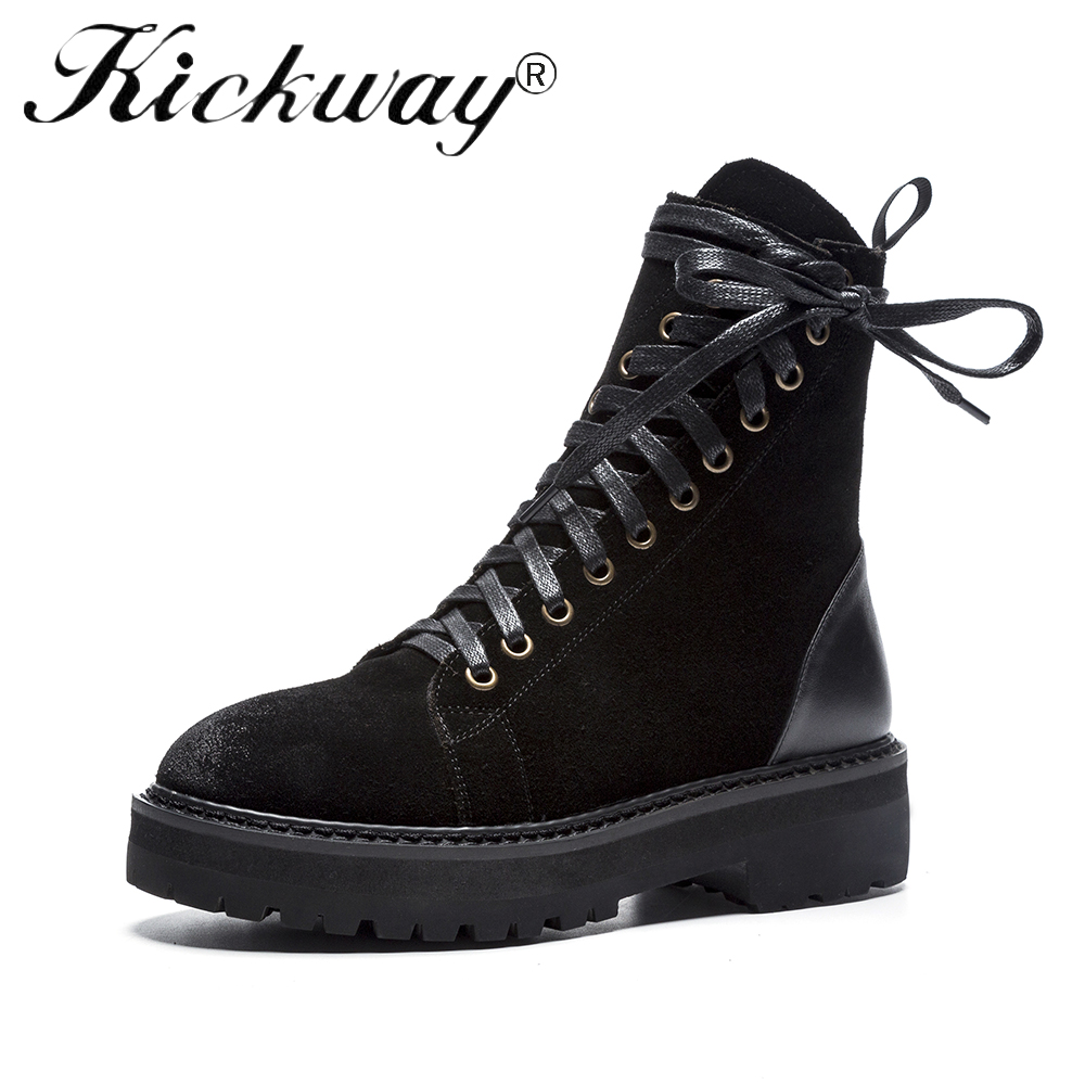 Kickway Ankle boots Shoes Women Genuine Leather bevel Lace up Ladies boots Retro Low Heel Rubber boots women autumn boots WinterKickway Ankle boots Shoes Women Genuine Leather bevel Lace up Ladies boots Retro Low Heel Rubber boots women autumn boots Winter