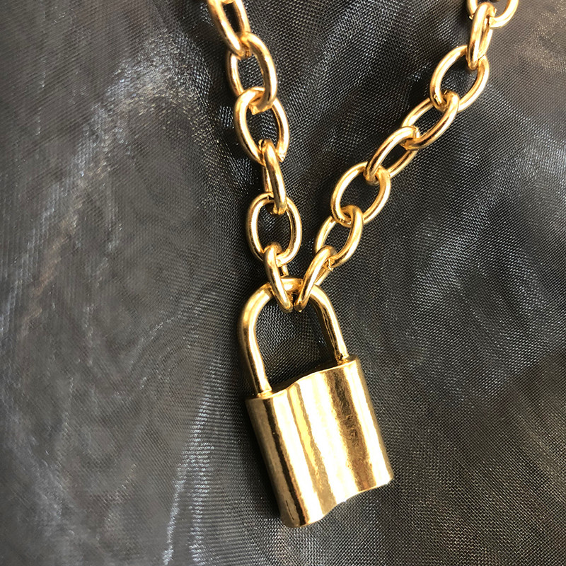 Hip hop rock Gold Silver colour alloy Square Lock Pendant Necklaces For Women and Men Padlock Necklace Clothing jewellery gift in Pendant Necklaces from Jewelry Accessories