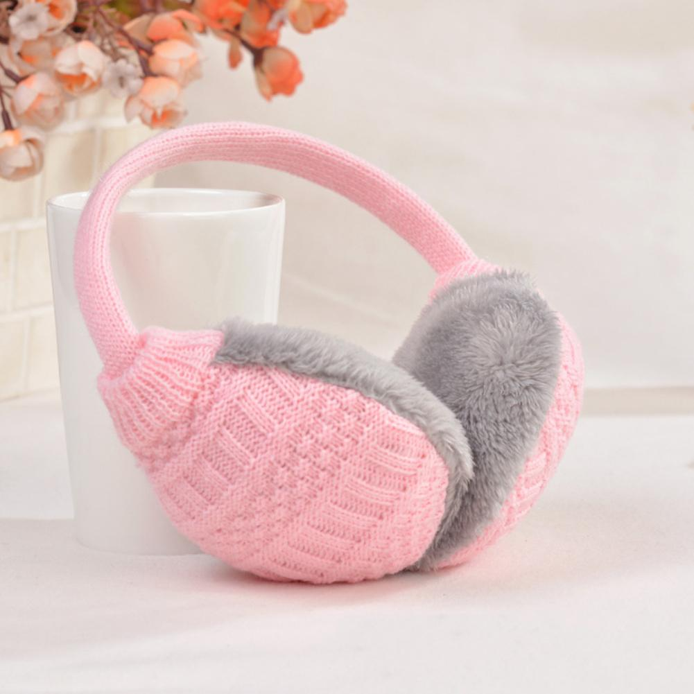 Cozy Design Adjustable Earmuffs Knitted Soft Warm Fluffy Faux Fur Earwarmers Winter