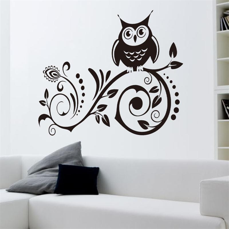 black Owl Bird On The Tree PVC Wall Stickers Living Room Kids Room Bedroom  Home Decor Vinyl 3D Wallpaper wall decals. Online Get Cheap Wallpaper Owl  Aliexpress com   Alibaba Group