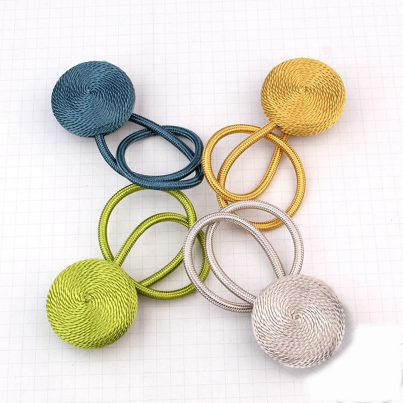 Curtain Buckles Europe Style Brief Braided Round Magnet Curtains Tieback Magnetic Curtain Holder Curtain Accessories