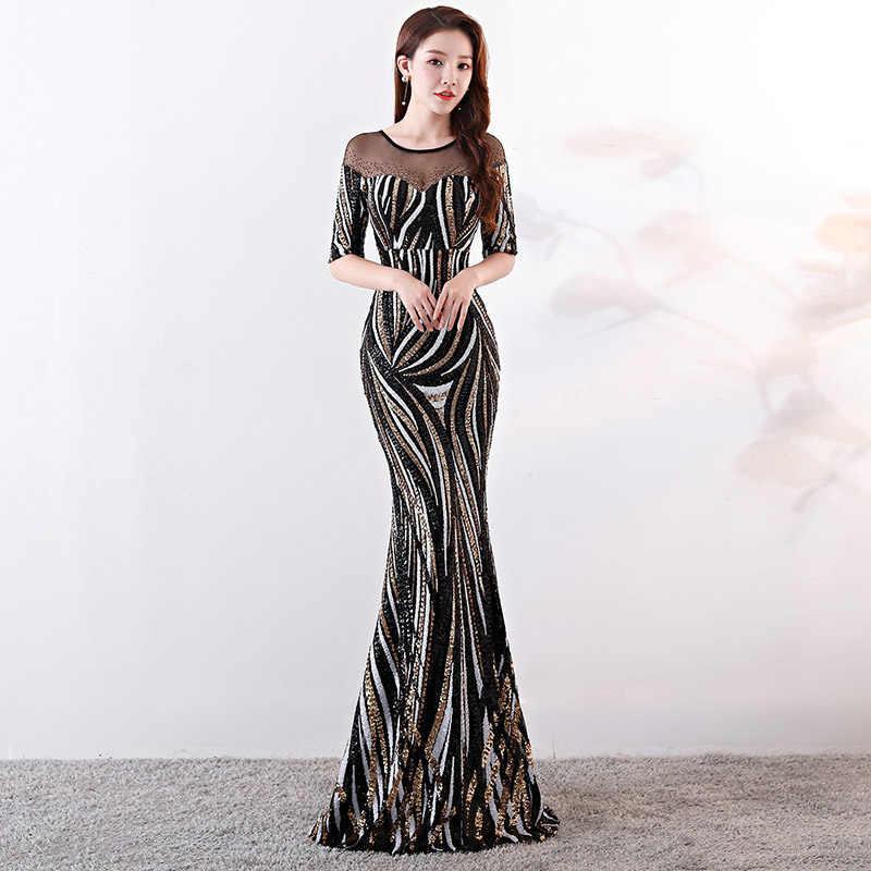 440e01c941 Luxury Black & White Striped Sequined Diamond Half Sleeve Long Formal  Evening Party Dresses Elegant Sexy Dress Club Wear Women