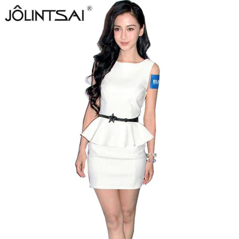 99cc43caf6b7 JOLINTSAI Women Sexy Dress 2018 Casual Fashion O-neck OL Peplum Dress Party  Bodycon Dresses