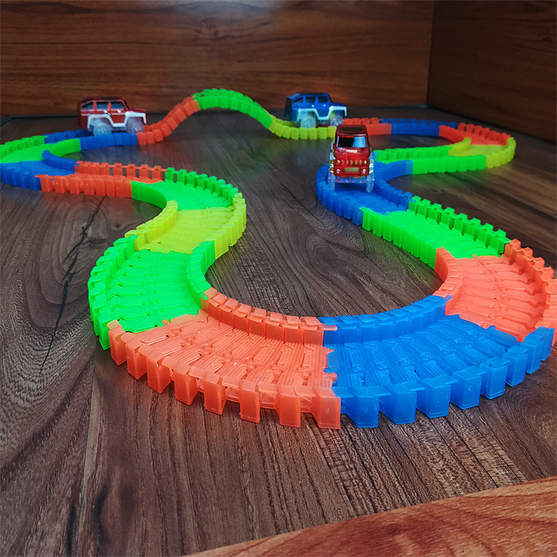 Купить с кэшбэком New styles Flexible Track Rail Train Glow Luminous Electric Railcar Children Toys