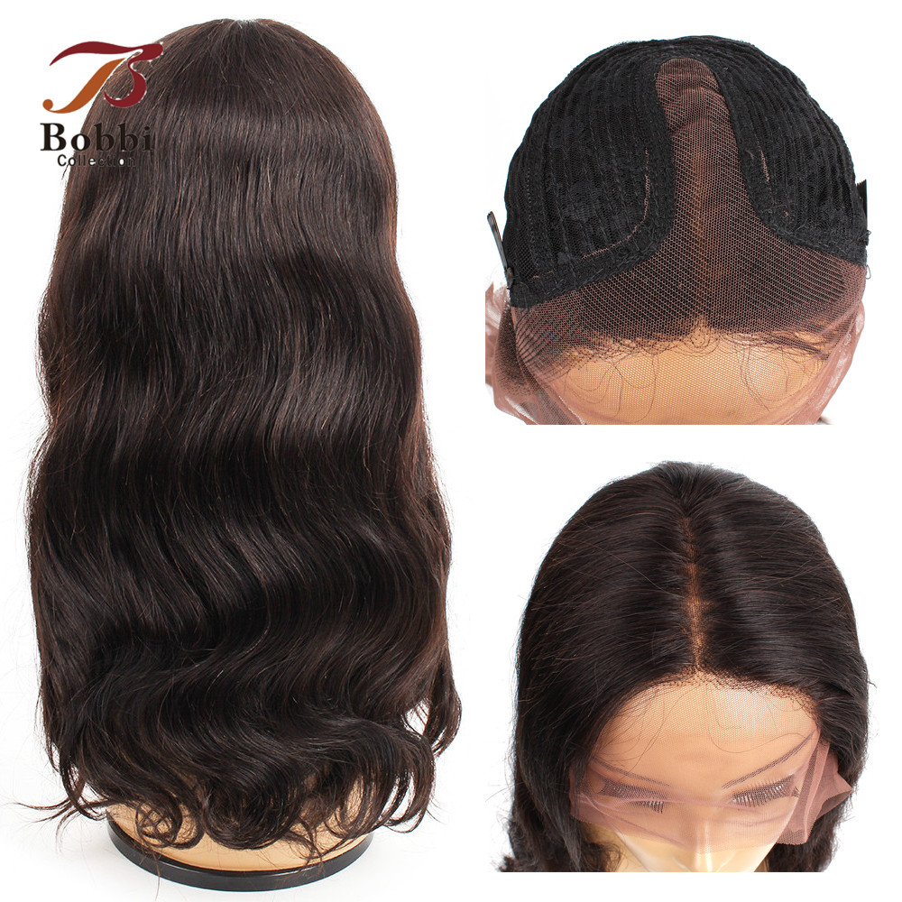 Bobbi Collection T Type Lace Front Human Hair Wigs Pre Plucked Wig Middle Part 14-28 Inch Full Brazilian Body Wave Hair