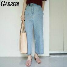 LooseWomen GABREBI 2016 Новая Мода Тонкий Высокой талией Джинсы светлый Фон Белый Широкую Ногу Пят брюки Дамы Жан