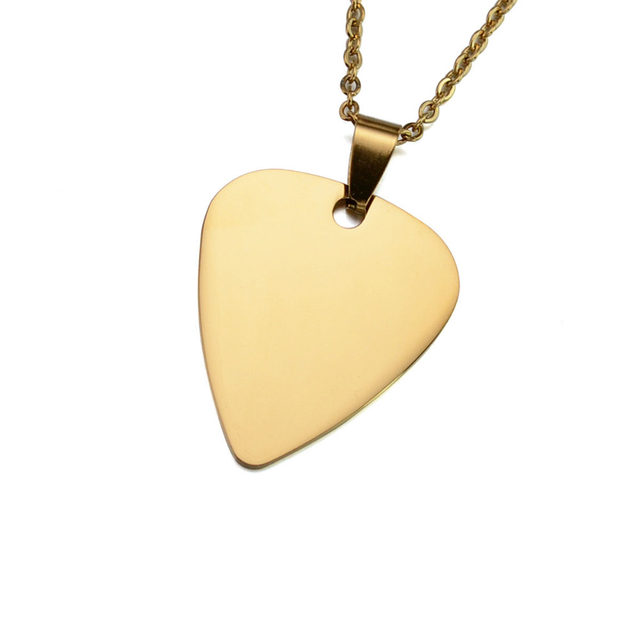 Online shop 10pcs lot silver gold rose gold tone stainless steel 10pcs lot silver gold rose gold tone stainless steel guitar pick blank dog tag charm pendant w ss chain 2460cm mozeypictures Choice Image