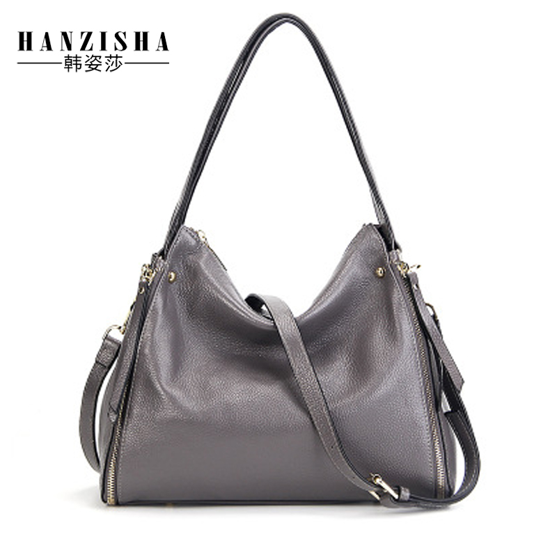 купить 2018 New Fashion Cow Leather Women Handbag Natural Skin Leather Women Shoulder Bag Famous Brand Bag Women Messenger Tote Bag по цене 3301.28 рублей