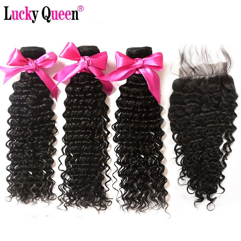 Lucky Queen Rambut Deep Gelombang Bundles Dengan Penutupan Non-Remy - Rambut manusia (untuk hitam)