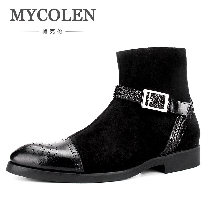 MYCOLEN The New Listing Autumn Brand Boots For Stitching Buckle Tip Scalp Boots Shoes Luxury Designers Men Boots Erkek Bot the new listing luxury living room