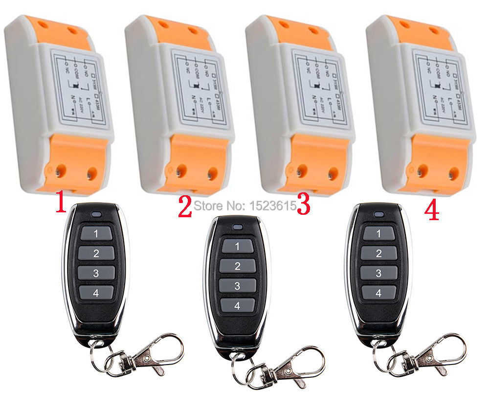 New 220V 1CH Wireless Power Switch System 4 Receiver& 3Transmitter Remote Controller 10A output state is adjusted new restaurant equipment wireless buzzer calling system 25pcs table bell with 4 waiter pager receiver