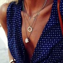 HOCOLE Bohemian Gold Metal Necklace For Women Vintage Circle Shell Pendant Multi-layer Fashion Jewelry Wedding Party