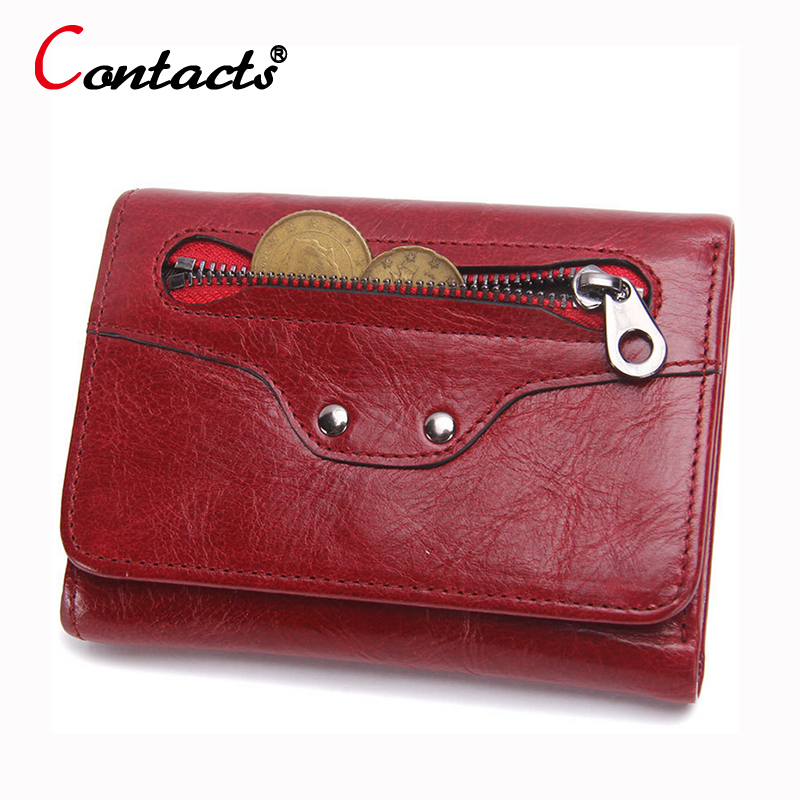 CONTACT S Luxury Brand Genuine Leather Women Wallet Female Coin Purse Small Credit Card Holder Lady