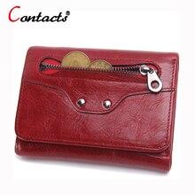 CONTACT'S Luxusmarke Aus Echtem Leder Frauen Brieftasche Weibliche Portemonnaie Kleine Kreditkarte Halter Lady Clutch Perse Roten Kurzen walet