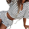 White Black Sets Party Woman V Revealing Umbilical Strap Stripe Thin Short Sleeved Shorts Suit Female