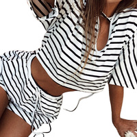 White Black Sets Party Woman V Revealing Umbilical Strap Stripe Thin Short Sleeved Shorts Suit Female