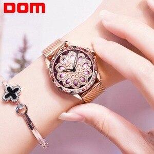 Image 4 - DOM cao cấp đầy sao Đồng hồ nữ thiết kế rỗng xoay 360 độ quay số thời trang nữ Đồng hồ đeo tay thạch anh Vòng tay đồng hồ