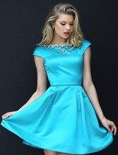 2016 luxus Perlen Satin Backless Sexy Mini Sommer Cocktail Party Kleider Kleid benutzerdefinierte farbe größe.