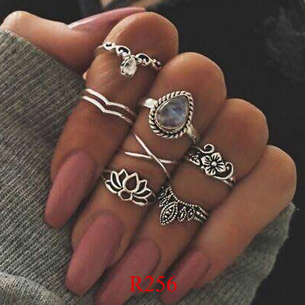 HTB1HcaPQVXXXXbsXpXXq6xXFXXXf 11-Pieces Boho Chic Spirituality Silver Plated Antique Stackable Ring Set - 9 Sets