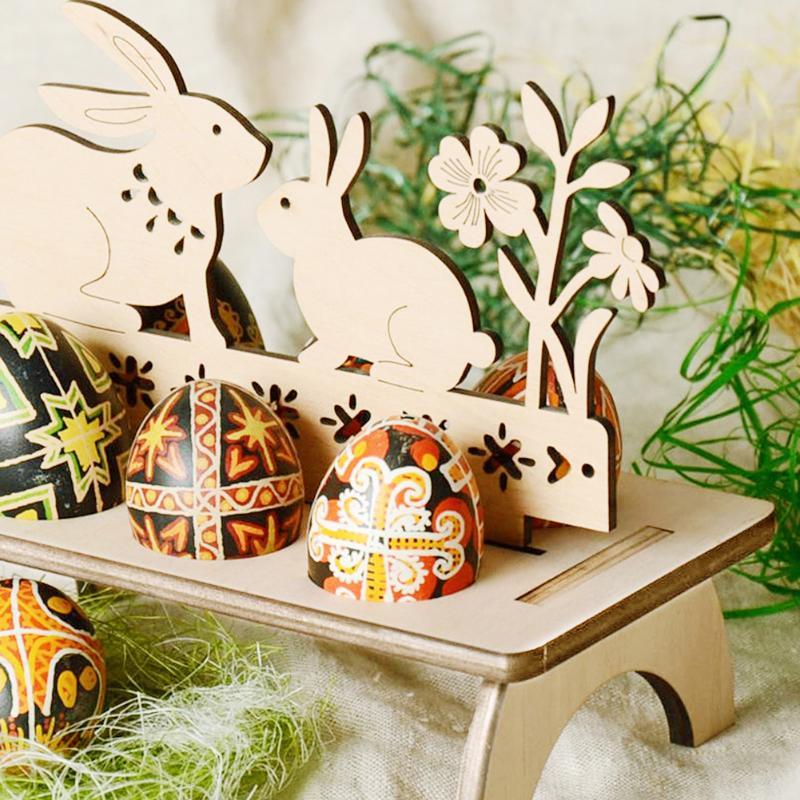 Easter Egg Rack Rabbit Hen Happy Easter DIY Wooden Egg