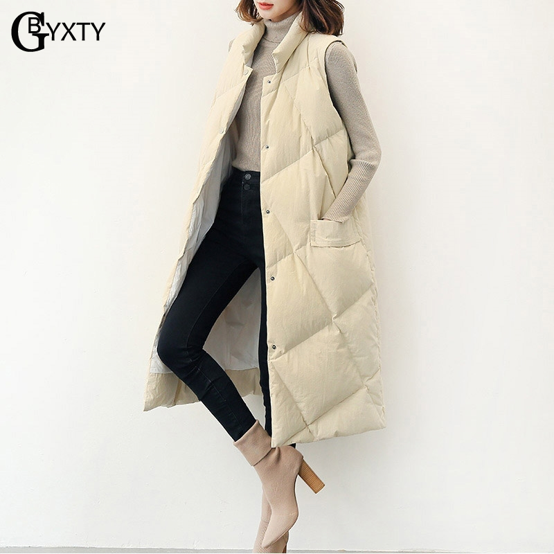 GBYXTY casaca plumas mujer 2018 Ultra Light   Down   Vest Sleeveless Jacket   Coat   Women Autumn Winter Long Duck   Down   Waistcoat ZA983